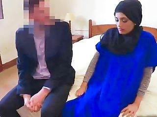 Lovely Arab girl struggles with enormous dick while trying to suck it