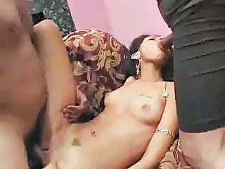 Indian Threesome And A Mouthful Of Cum