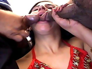 Two fat cocks for one little indian whore