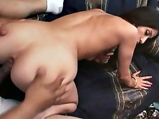 Young indian sits her shaved pussy on a big cock