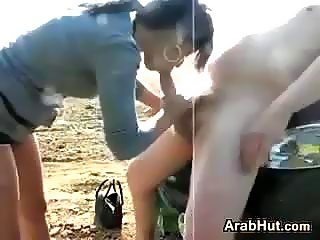 Cute Arab With A White Guy Outside