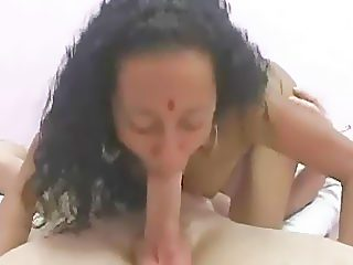Pretty indian whore jumping on one bald cock