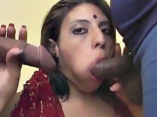 Nice indian wife sucking her new two lovers