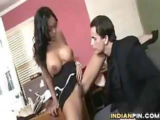 Big breasted Indian slut gets her big butt doggy styled