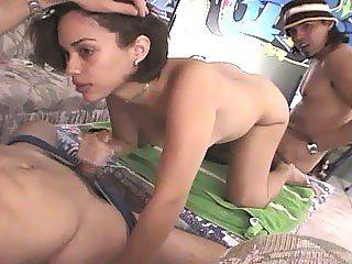 Skinny indian brunette gives her all in threesome