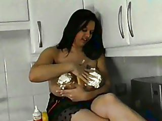Busty Anglo Indian playing with food