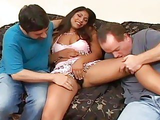 Nasty Indian teen has hardcore threesome with mature white perverts